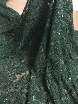 French Net Lace Fabric JIANXI.C-6125 Latest african guipure lace fabric with embroidery mesh nigerian tulle lace fabric