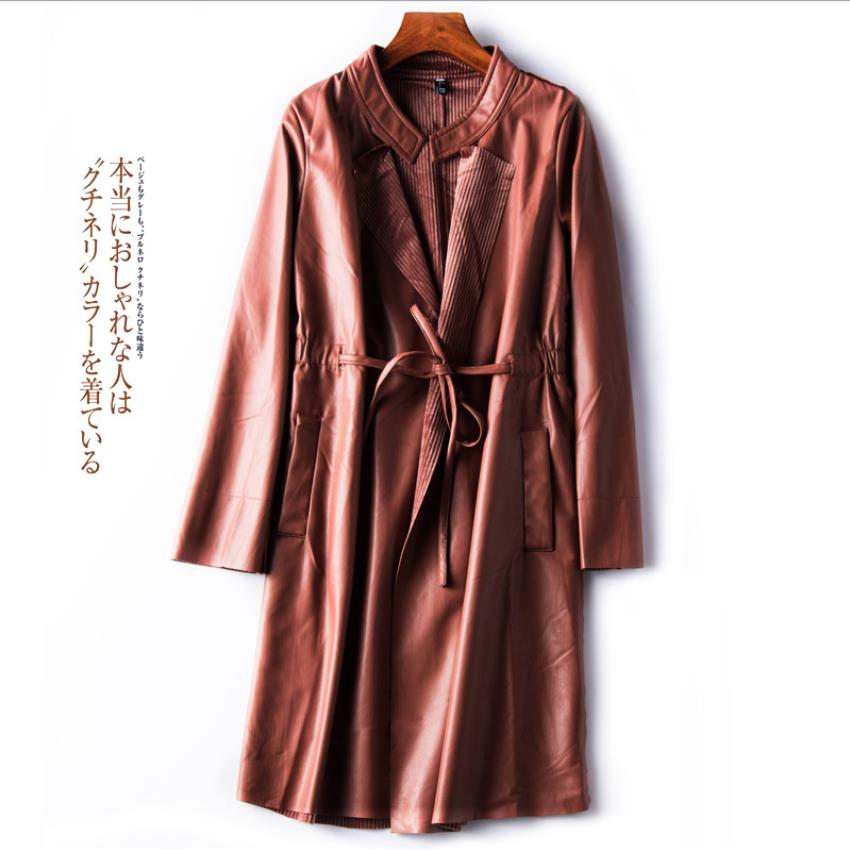 Fashion brand long cardigan PU   leather   jacket new female motorcycle PU   leather   jacket was thin pu jacket wq1114 dropship