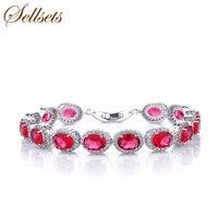 Handsome Brand Jewelry Red OVAL Zircon Bracelet Bangle Cubic Zirconia Bracelets Jewelry Accessories For Women