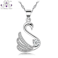 Top Quality 925 Sterling Silver Fashion Jewelry Micro Pave Setting With White Cubic Zirconia Swan Pendant Necklaces For Women