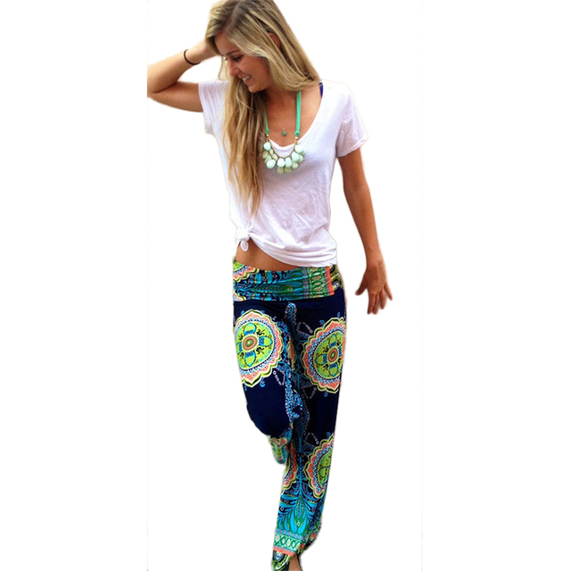 18cb8e2d4893 Hot Fashion Casual Women Beach wear Floral Printed Wide Leg Long Harem Pants  High Waist Loose Elastic Waist Palazzo Trousers