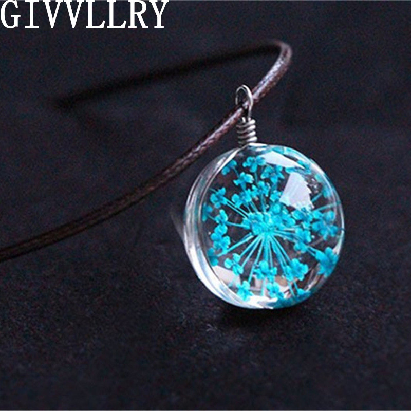 Fashion Crystal Glass Ball Blue Green Lace Dry Flower Necklace Long Strip Leather Chain Pendant Necklaces