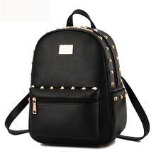 2016 модные женские туфли рюкзак высокое качество заклепки школьные рюкзаки для девочек-подростков из искусственной кожи рюкзак Mochila сумка