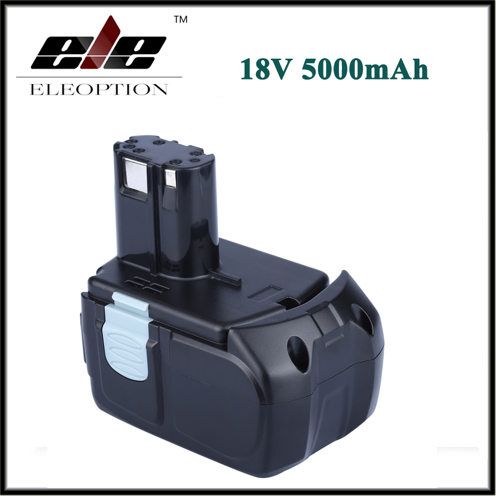 ELEOPTION High Capacity 18V 5000mAh Li-ion for HITACHI Rechargeable Power Tool Battery BCL1815 BCL1830 EBM1830 327730 eleoption 2pcs 18v 4000mah li ion rechargeable power tool battery for hitachi bsl1830 bsl1840 330067
