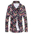 2016 men casual shirt embroidered Men's fashion leisure brand printed shirt Male flowers long sleeve shirts