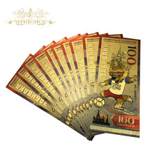 Banknote World-Cup Wolf Russia 24k-Gold-Foil-Bank Gifts Fake Money for The in as 10pcs/Lot