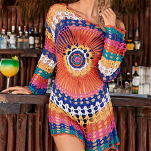 Handmade Knitted Beach Cover Up Tunics for Beach Swimsuit Crochet Cover Ups Sarong Beach Saida Praia Sarong Beach Kaftan #Q498