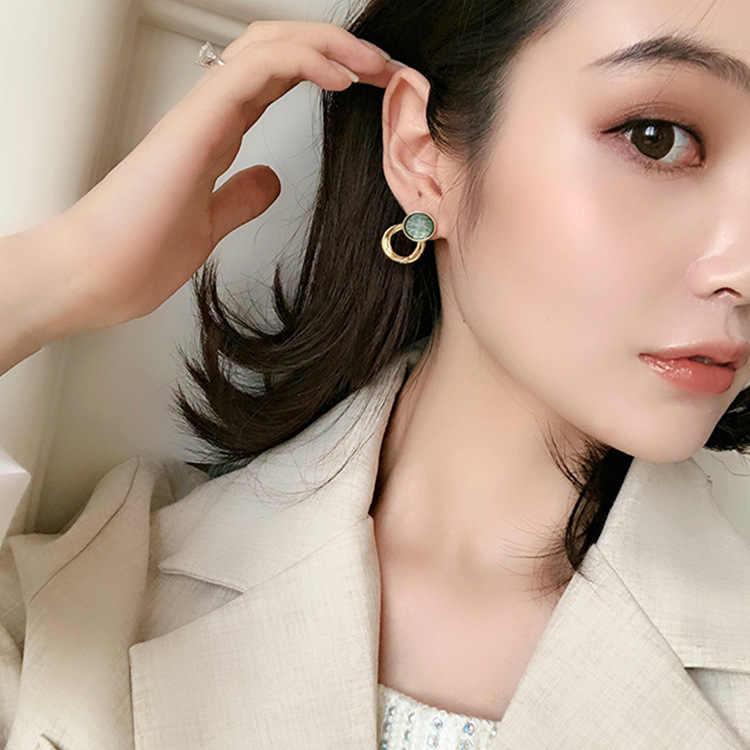 2019 new design hot sale fashion Korean jewelry simple retro round earrings green acrylic elegant earrings for women
