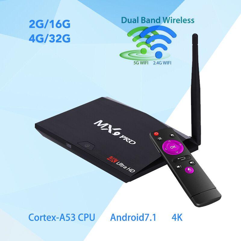 MX9 Pro 4 GB RAM 32 GB ROM Android 7.1 TV Box RK3328 Quad Core 2.4G/5G WiFi Bluetooth 4.1 Smart Set-top Box HDR10 4 K Lecteur Multimédia