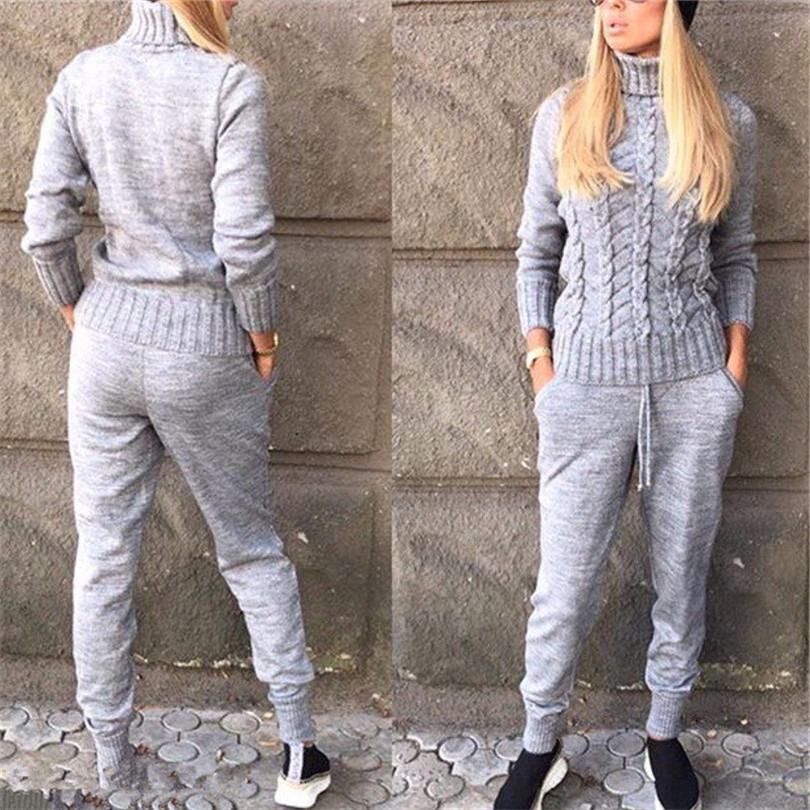 MVGIRLRU knitted suits Women turtleneck sweater Suit twist knit pullovers pants 2 piece set Spring tracksuits