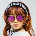 Alto Qualit Coche Caja de Envío Niños Gafas de Sol de Diseñador de la Marca de gafas de Sol Para niños Niñas Superior Plana Y Lente Espejo Piloto Gafas de Sol Uv400