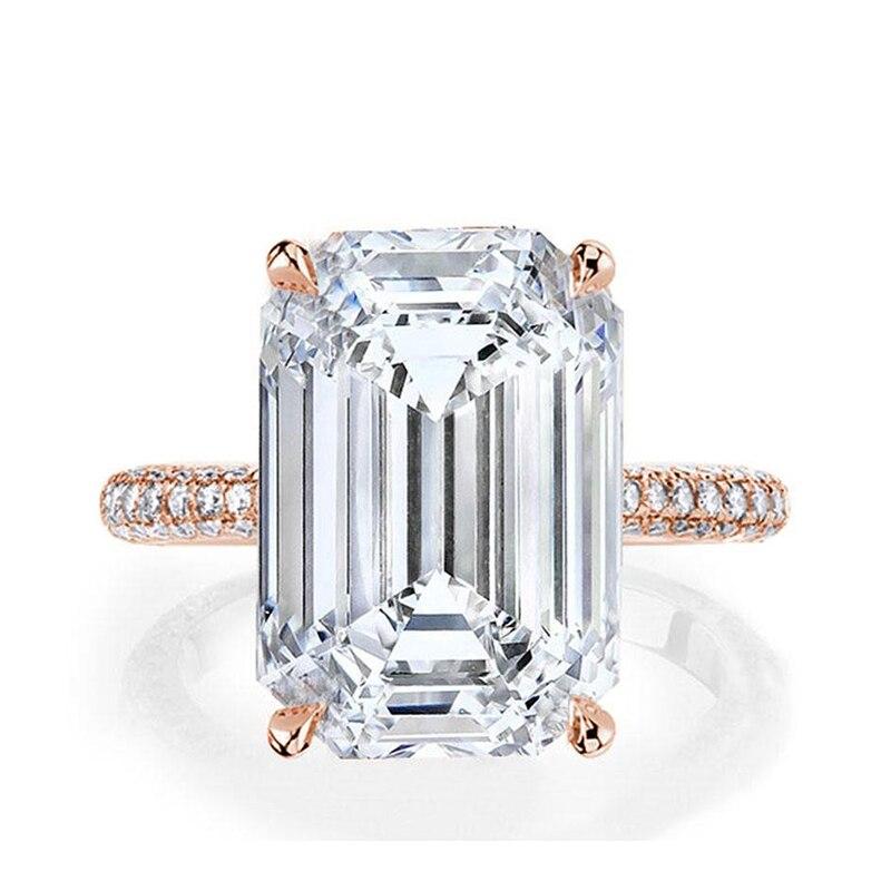 LESF luxe 6 Ct 925 bagues en argent Sterling pour femmes or Rose bague de fiançailles mariage SONA diamant femmes bijoux - 2