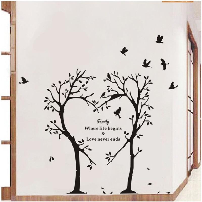 Креативная Наклейка на стену с изображением любящего дерева для дома, гостиной, теплое украшение на стену, роспись, летающая птица, художест...