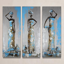 Hand Painted Abstract African Women Blue Oil Paintings on Canvas 3 Panel Wall Art