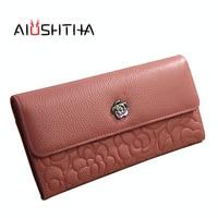 Women Wallets Genuine Leather Long Wallet Phone Bag Case Clutch Female Coin Purse Ladies Cartrira Feminina