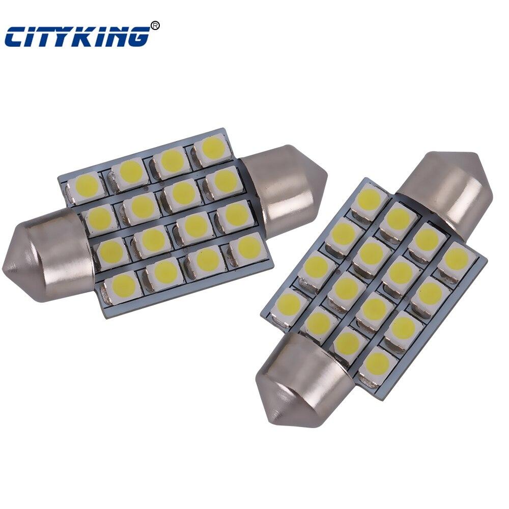 Супер белый гирлянда светодиодная 16smd 1210 3528 плафон 36 мм 39 мм 41 мм 31 мм гирлянда светодиодная потолочный плафон авто лампы Бесплатная доставк…
