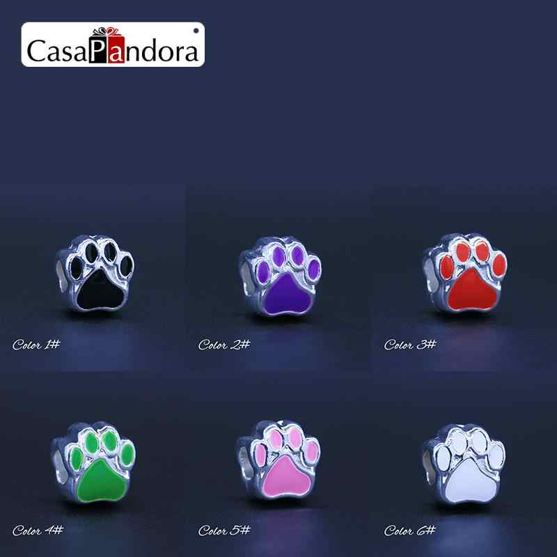 CasaPandora 6 Colors Silver-colored Bear Paw Footprint Fit Bracelet Charm DIY Enamel Bead Jewelry Making Pingente Berloque