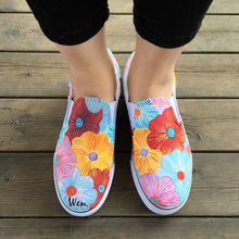 Wen Original Design Custom Floral Colorful Flowers Hand Painted Shoes Slip on Canvas Sneakers for Women Girls Presents