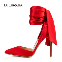 цена на Elegant Pointed Toe High Heel Red Satin Pumps Black Dress Shoes for Women Ankle Wraps Slingbacks Evening Heels Summer Shoes 2018