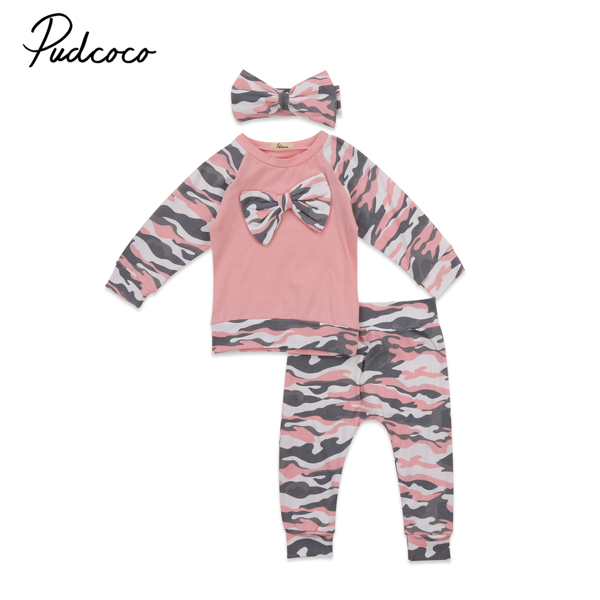 2017 New Brand Toddler Infant Newborn Kids Baby girl T-shirt Long Sleeve Tops Pants Headband 3Pcs Outfits Set Pink Camo Clothes