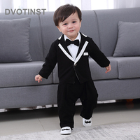 Dvotinst Baby Boy Clothes Full Sleeves Gentleman Black Bow Tie Romper+Coat Set Outfit Infant Toddler Wedding Jumpsuit Birthday