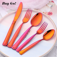 20/30PCS Stainless Steel Luxury Cutlery Set Orange Red Flatware Sets Rainbow Gold Knife Salad Fork Teaspoon Tableware Set C181