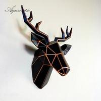 Aqumotic Deer Head 3D Wall Decoration Chic New High Quality Medium 1pc Golden Elk Sculpture Art Morden Fashion Vogue Feng Shui