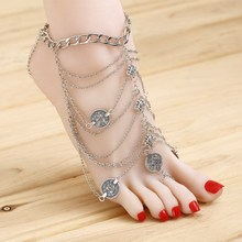 2016 New Crude  Fine Chains Bohemia Round ZInc Alloy  Metal Coin Anklet Jewelry For Women