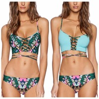 Swimwear Women Bathing Suit Floral Bandage Swimsuit High Waist Floral Print One and two Piece Sexy Bikini Women Shop Online