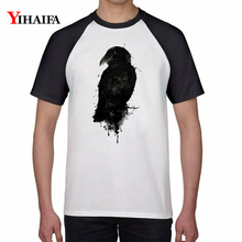 T Shirts 3D Print Black Crow Animal Graphic Tees Mens Womens Casual Harajuku White Tee Hip Hop Cotton Unisex Tops