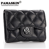 2014 Year New Material Sheepskin Leather Wallet Fashion Coin Pruse Short Style Wallet Card Holder Female