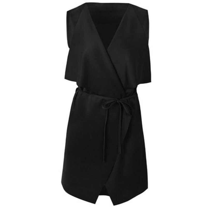 2020 여성 코트 가을 민소매 우아한 폭포 케이프 롱 가디건 플러스 사이즈 Deep V Ladies Jacket Coat Windbreak W1