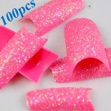 JEYL Hot New 100 Unids Clavo Impresionante Brillo de Super Pink de Acrílico Francés Falso Del Clavo