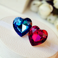 High Quality Brilliant Amazing Super Big Heart Of The Ocean Red Crystal Ring Heart Blue Stone