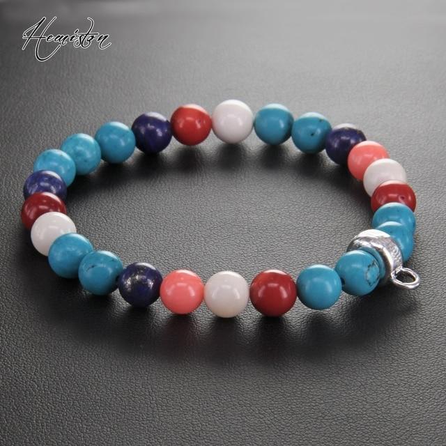 Томас Коралл голубой камень красочный материал микс с шармами