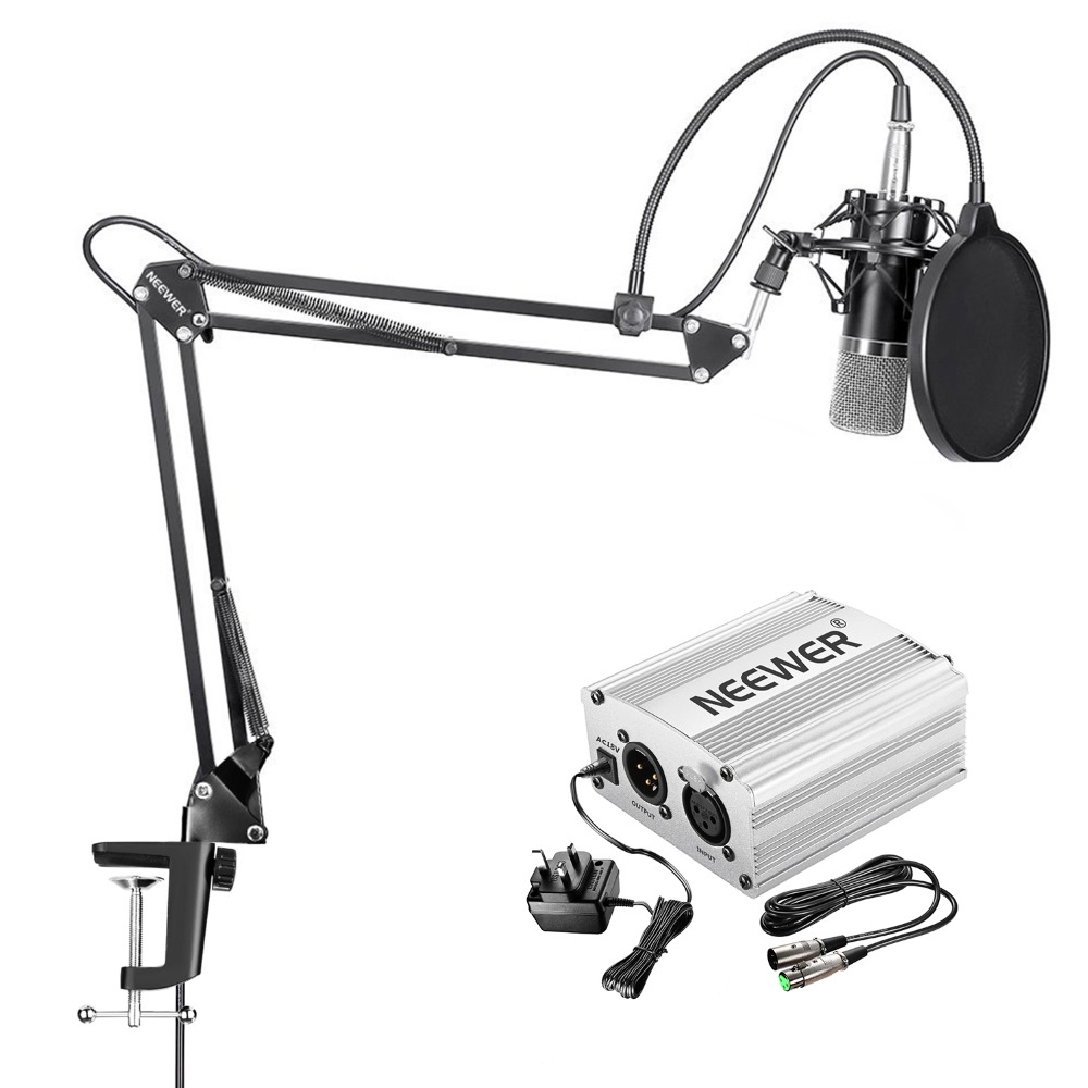 NW-700 MIC+NW-3 POP FILTER+NW-35 STAND+48V PHANTOM POWER(SILVER/BLUE)+SHOCK MOUNT(UK) sch5147 nw