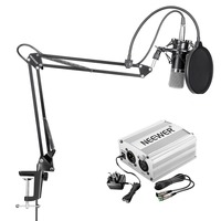 NW 700 MIC+NW 3 POP FILTER+NW 35 STAND+48V PHANTOM POWER(SILVER/BLUE)+SHOCK MOUNT(UK)