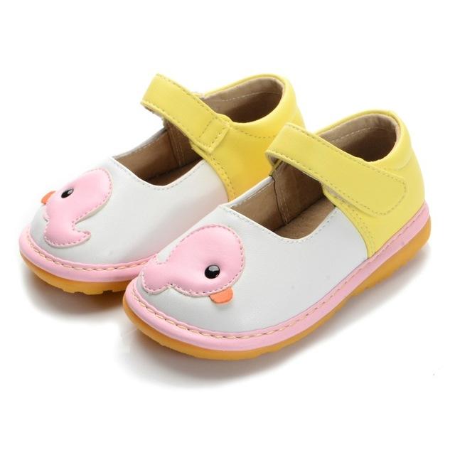 Pato de color rosa Muchacha Del Niño Squeaky Shoes Tamaño 3 4 5 6 7 8 9 Primeros Caminante Zapatos de Suela De Cuero Suave Ocasional