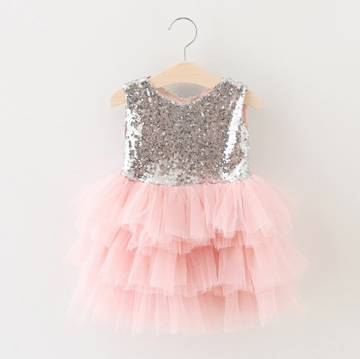 0-7Y Kids Gold Sequined Princess Dress Patchwork Layered Mesh Two Bow Girls Dresses For Wedding And Party 2016 Children Clothes