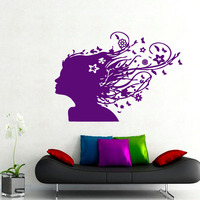Vinyl Art Flowers And Butterflies Hair Girl Home Decor Wall Sticker Purple Self Adhesive Removable Decals