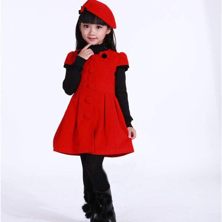 28f769e62ba90 2019 Printemps Hiver Filles Robe + Rouge Chapeau Enfants Coton à manches  Courtes Robes Pour Filles 3 4 6 8 10 Ans KD-1529