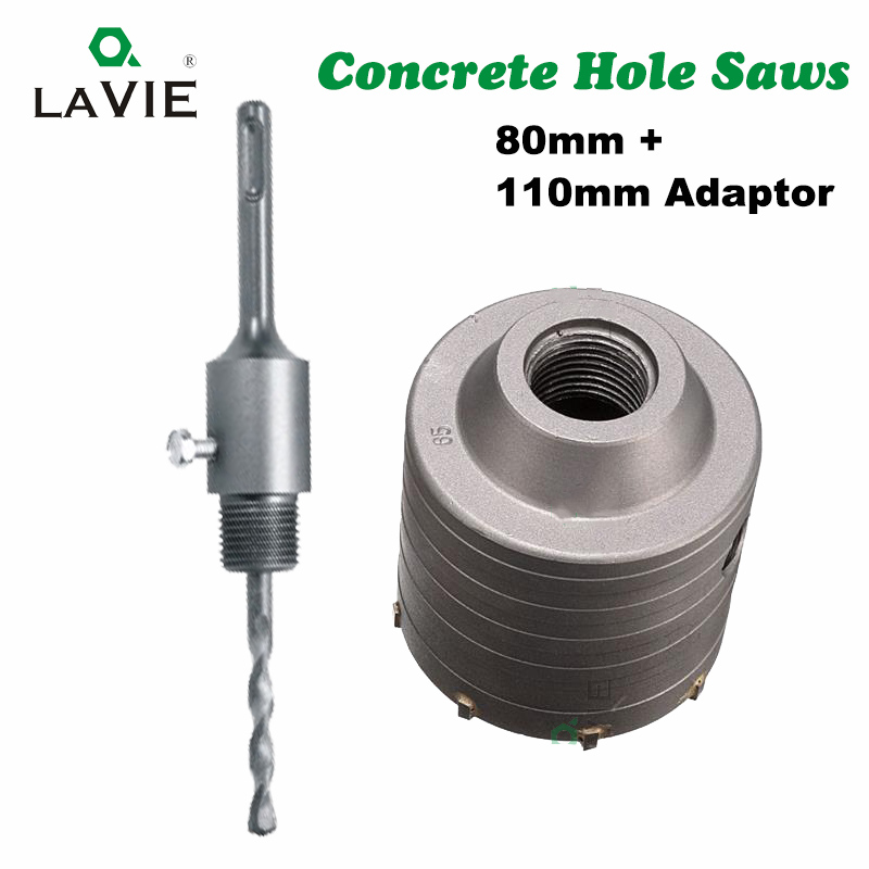 LA VIE 1 set SDS PLUS 80mm Concrete Hole Saw Electric Hollow Core Drill Bit Shank 110mm Cement Stone Wall Air Conditioner Alloy free shipping of professional 75 72 m22 carbide tipped wall hole saw for air condtiional holes opening on brick concrete wall