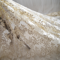 Soft Ivory White Champagne Gold Lace Thread Fabric Leaves Embroidery Organza Tulle Mesh Lace Fabric