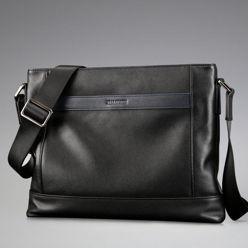 Full Gain Abortive Calfskin Messenger Bag Business Briefcase Cow Leather Satchels Black Single-shoulder & Crossbody Bags(XW3003) redfox сумка full size business messenger 1000 черный