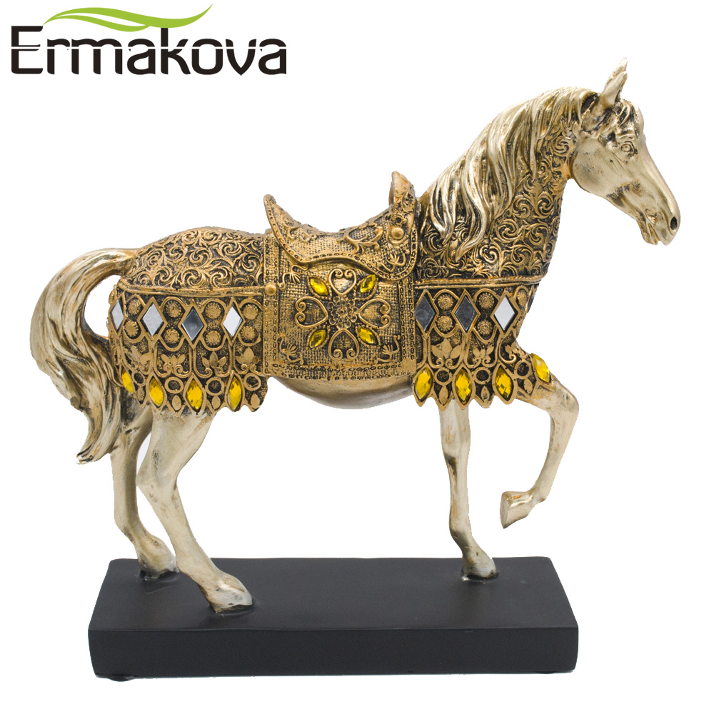 product ERMAKOVA 28.8cm(11.3\)Height Golden Resin Trotting Horse Figurine Statue Animal Furnishing Articles Home Office Desktop Decor