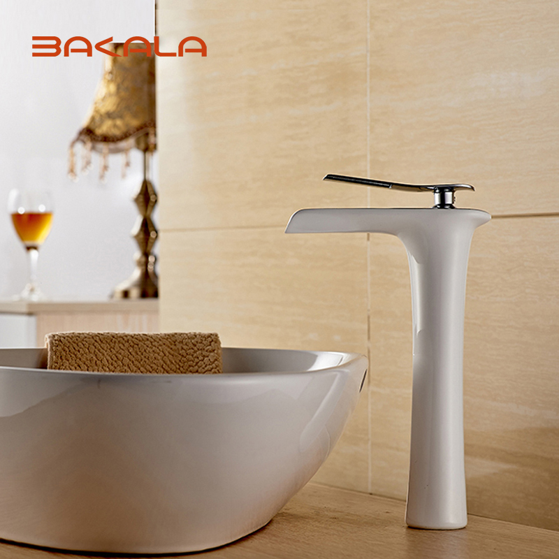 BAKALA Spray Painting Bathroom White Faucet Single Handle Vanity Sink Mixer Tap,New Fashion Rocker Faucet with Hot&Cold Water new arrival tall bathroom sink faucet mixer cold and hot kitchen tap single hole water tap kitchen faucet torneira cozinha