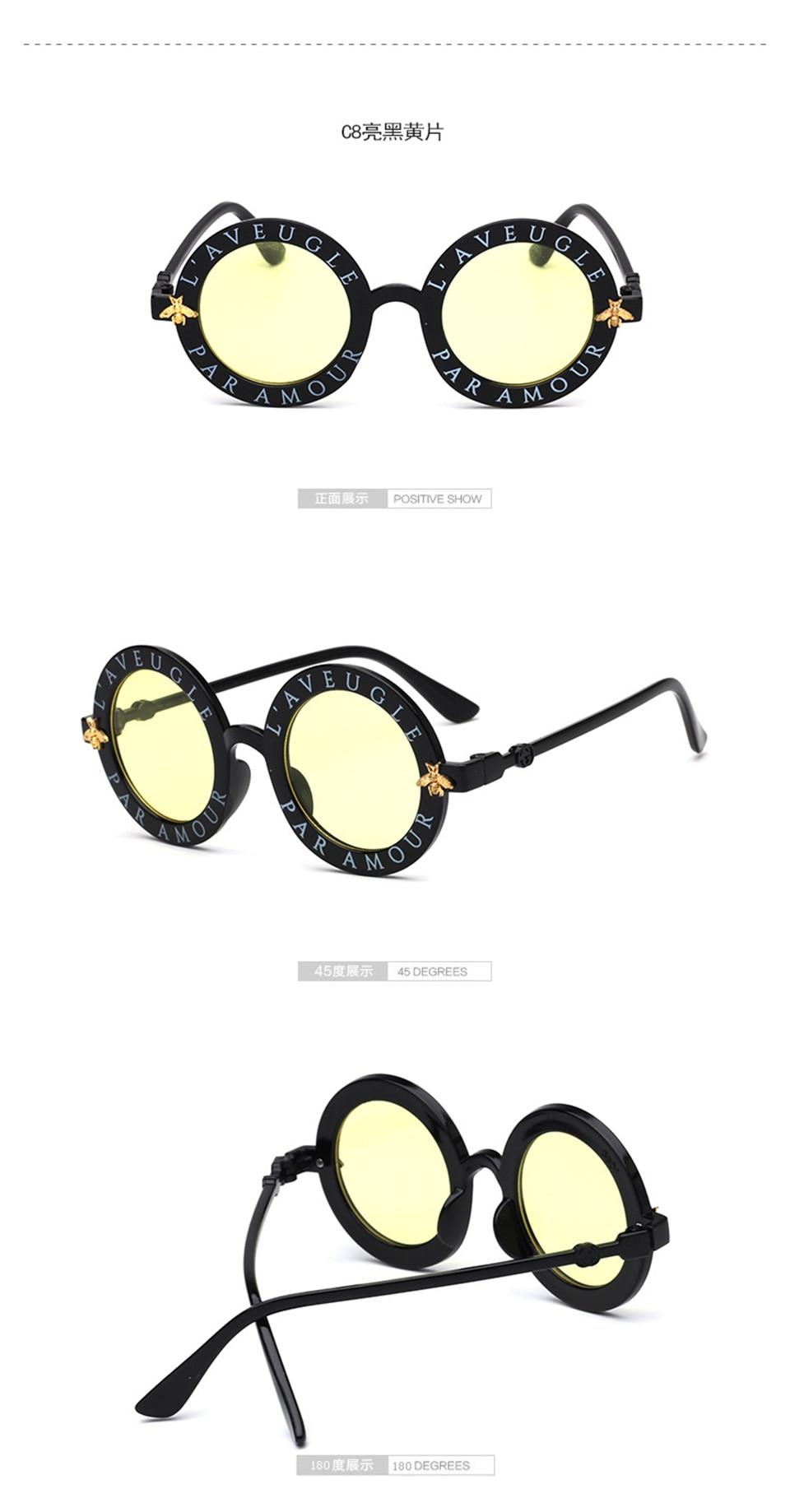 Steampunk Bee Kids Sunglasses Boys Girls Luxury Vintage Children Sunglasses Round Sun Glasses Oculos Feminino Accessories 11