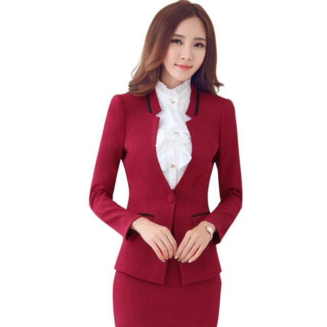 Осень зима с длинными рукавами рабочая одежда тонкий женщин костюмы с юбками мода пр офисные дамы формальный пиджак мини-юбки красный Большой размер