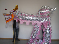 18m Length Size 4 pink silver on body Chinese DRAGON DANCE ORIGINAL Dragon Chinese Folk Festival Celebration Costume