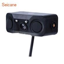 Seicane HD 3 em 1 Alarme Sonoro CCD HD Car Inverter LED Câmera de Visão Traseira de Estacionamento Sistema de Radar de Backup Câmera Retrovisor 2 sensores